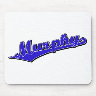 Logotipo de la escritura de Murphy en azul Alfombrillas De Ratón