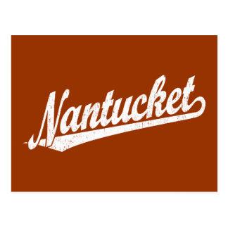 Logotipo de la escritura de Nantucket en el blanco Postal