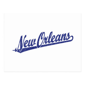Logotipo de la escritura de New Orleans en el azul Postales