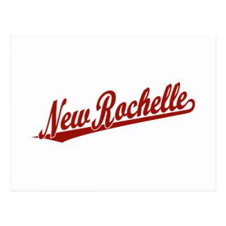 Logotipo de la escritura de New Rochelle en rojo Postal