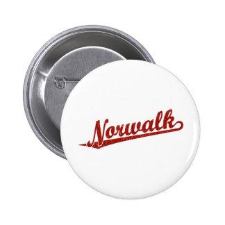 Logotipo de la escritura de Norwalk en el rojo ape Pin Redondo De 2 Pulgadas