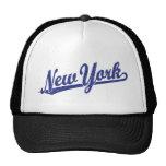 Logotipo de la escritura de Nueva York en el azul  Gorros Bordados