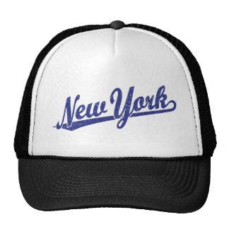 Logotipo de la escritura de Nueva York en el azul  Gorros