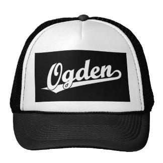 Logotipo de la escritura de Ogden en blanco Gorras