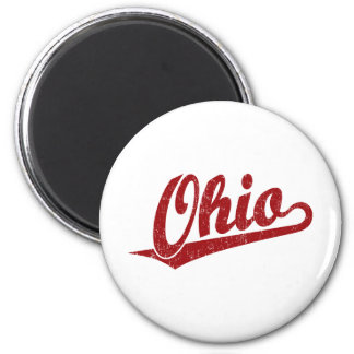 Logotipo de la escritura de Ohio en el rojo apenad Imán Redondo 5 Cm