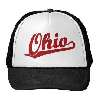 Logotipo de la escritura de Ohio en rojo Gorros Bordados