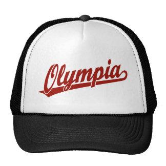 Logotipo de la escritura de Olympia en rojo Gorras De Camionero