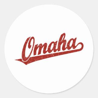 Logotipo de la escritura de Omaha en el rojo Pegatina Redonda