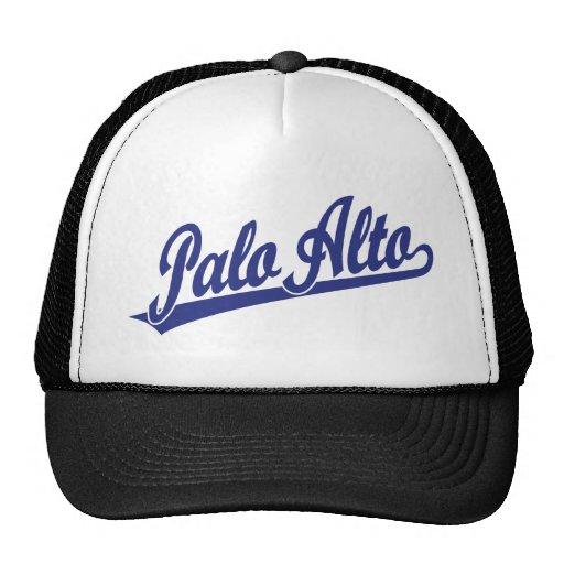 Logotipo de la escritura de Palo Alto en azul Gorros
