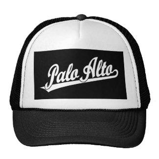 Logotipo de la escritura de Palo Alto en blanco Gorras