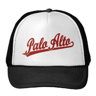 Logotipo de la escritura de Palo Alto en rojo Gorros Bordados