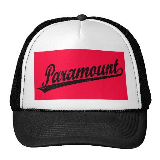 Logotipo de la escritura de Paramount en el negro  Gorras De Camionero