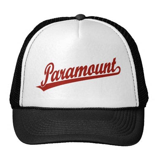 Logotipo de la escritura de Paramount en rojo Gorros