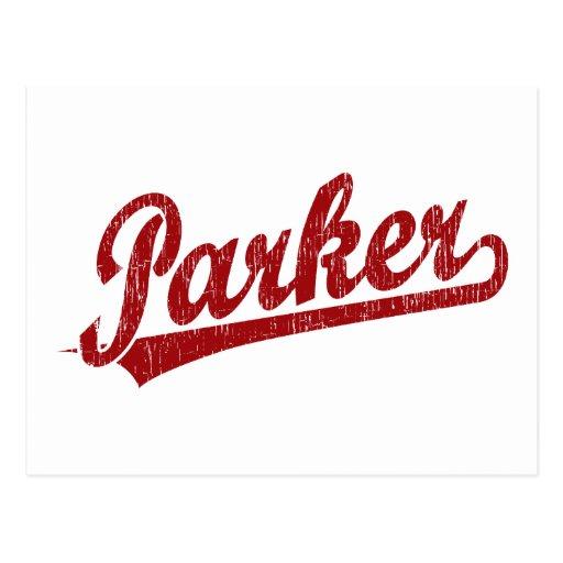 Logotipo de la escritura de Parker en rojo Postal