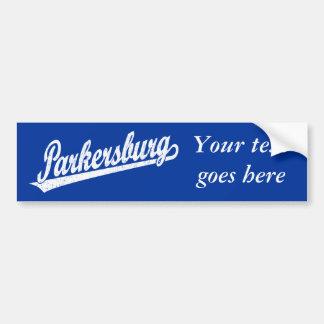 Logotipo de la escritura de Parkersburg en el blan Etiqueta De Parachoque