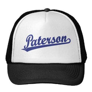 Logotipo de la escritura de Paterson en azul Gorros Bordados