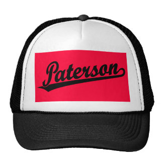 Logotipo de la escritura de Paterson en negro Gorras De Camionero