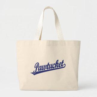 Logotipo de la escritura de Pawtucket en azul Bolsa De Mano