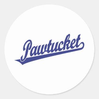 Logotipo de la escritura de Pawtucket en azul Pegatina Redonda