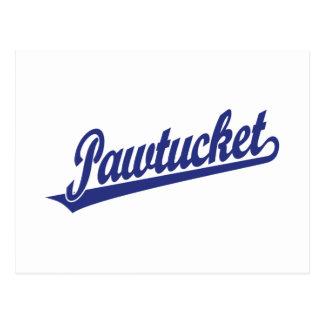 Logotipo de la escritura de Pawtucket en azul Tarjetas Postales