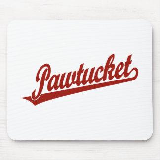 Logotipo de la escritura de Pawtucket en rojo Alfombrillas De Ratón