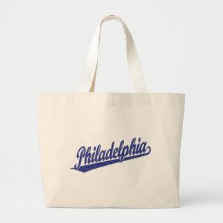 Logotipo de la escritura de Philadelphia en el azu Bolsa De Mano