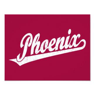 """Logotipo de la escritura de Phoenix en el blanco Invitación 4.25"""" X 5.5"""""""