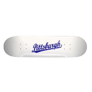 Logotipo de la escritura de Pittsburgh en azul Tablas De Skate