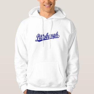 Logotipo de la escritura de Pittsburgh en azul Suéter Con Capucha
