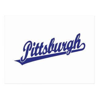 Logotipo de la escritura de Pittsburgh en azul Tarjeta Postal