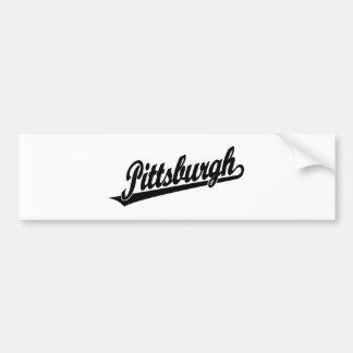 Logotipo de la escritura de Pittsburgh en negro Etiqueta De Parachoque