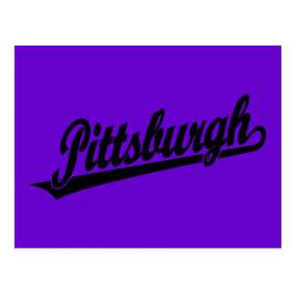 Logotipo de la escritura de Pittsburgh en negro Postal