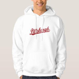 Logotipo de la escritura de Pittsburgh en rojo Sudadera Con Capucha