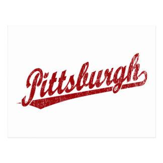 Logotipo de la escritura de Pittsburgh en rojo Postales