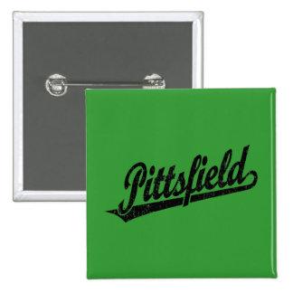Logotipo de la escritura de Pittsfield en el negro Pin Cuadrado
