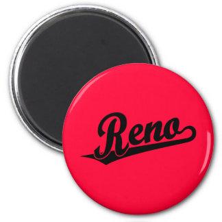 Logotipo de la escritura de Reno en negro Imán Redondo 5 Cm