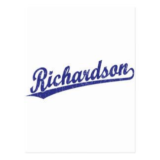 Logotipo de la escritura de Richardson en azul Postales