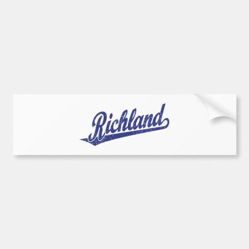 Logotipo de la escritura de Richland en el azul ap Pegatina De Parachoque