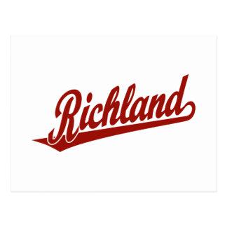 Logotipo de la escritura de Richland en rojo Tarjetas Postales