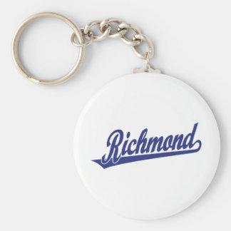 Logotipo de la escritura de Richmond en azul Llavero Personalizado