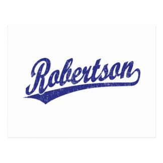 Logotipo de la escritura de Robertson en el azul a Postales