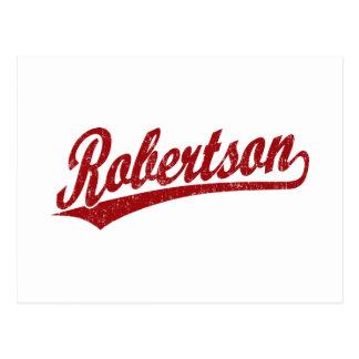 Logotipo de la escritura de Robertson en el rojo a Tarjetas Postales