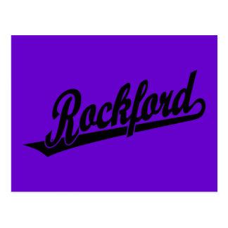 Logotipo de la escritura de ROCKFORD en negro Tarjeta Postal