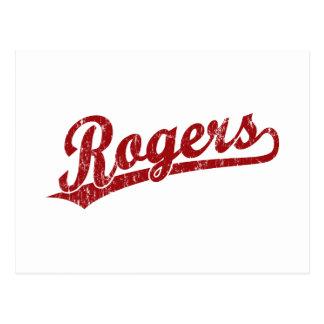 Logotipo de la escritura de Rogers en rojo Tarjetas Postales