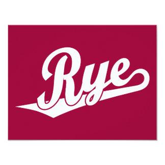 """Logotipo de la escritura de Rye en blanco Invitación 4.25"""" X 5.5"""""""