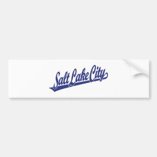 Logotipo de la escritura de Salt Lake City en azul Etiqueta De Parachoque