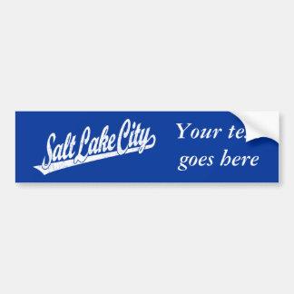 Logotipo de la escritura de Salt Lake City en el b Pegatina De Parachoque