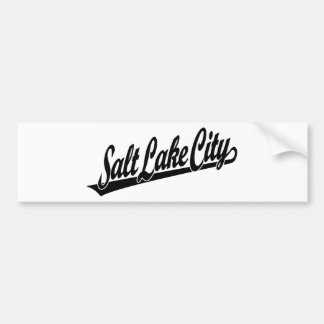 Logotipo de la escritura de Salt Lake City en negr Pegatina De Parachoque