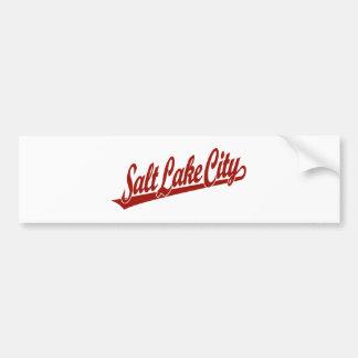 Logotipo de la escritura de Salt Lake City en rojo Pegatina De Parachoque