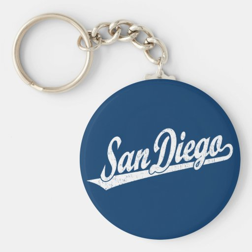 Logotipo de la escritura de San Diego en el blanco Llavero Redondo Tipo Pin